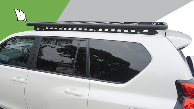 Side view of a Toyota Prado 150 Series with a Wedgetail roof rack installed.