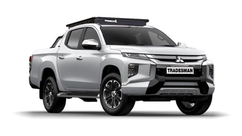 Mitsubishi Triton with Wedgetail roof rack installed as vehicle hero image.