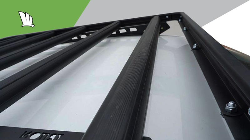 Wedgetail rack installed on the roof of a Toyota HiLux and showing the five crossbars used to make it extra strong.