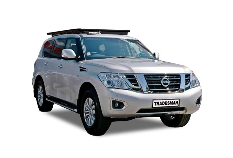 Nissan Patrol Y62 with Wedgetail roof rack installed hero image.