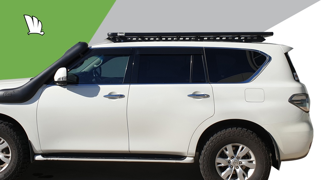 Nissan Patrol Y62 with Wedgetail roof rack installed.