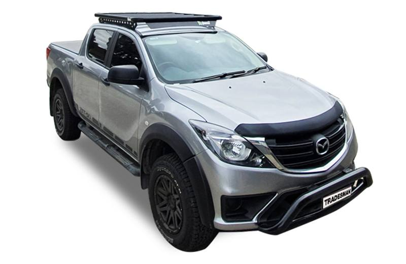 Mazda BT-50 hero image with a front corner view of the BT-50 with a Wedgetail platform roof rack installed on the roof.